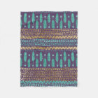 Gold Teal and Purple Arrows Tribal Aztec Pattern Fleece Blanket