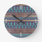 Gold Teal and Purple Arrows Tribal Aztec Pattern Round Clock