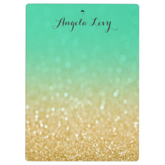 Gold & Teal Ombre Glitter Personalized Clip board