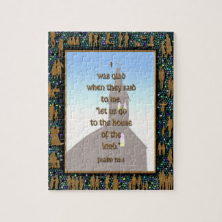 Gold Teal People Mosaic Psalm 122:1 Church Puzzle