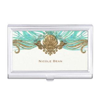 Gold & Teal Sea Shell Glam Beach Elegant Custom Business Card Holder