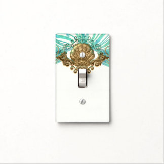 Gold & Teal Sea Shell Glam Beach Elegant Decor Light Switch Cover