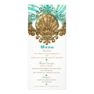 Gold & Teal Sea Shell Glam Beach Elegant Menu Card