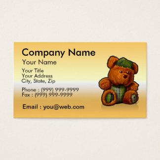 gold teddy bear business card
