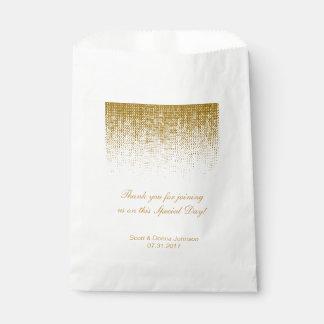 Gold Texture Confetti Wedding Shower   Personalize Favour Bag