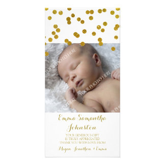Gold Thank You Baby Shower Photo Cards