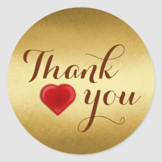 Gold, Thank You, Custom Classic Round Sticker