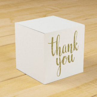 Gold thank you favor boxes, glitter favor box