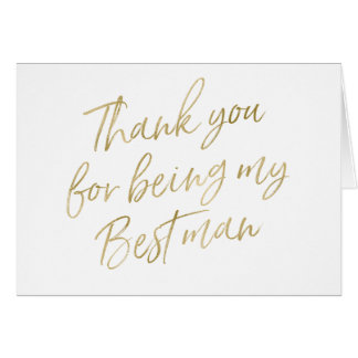 "Gold ""Thank you for my being best man"" Card"