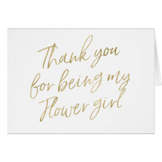 """Gold """"Thank you for my being my flower girl"""" Card"""