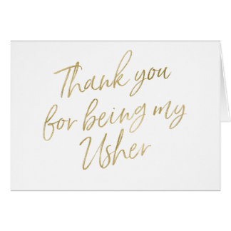 "Gold ""Thank you for my being my Usher"" Card"