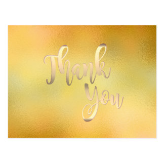 Gold Thank You  Glass Glitter Clean Postcard
