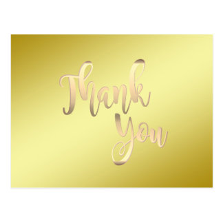 Gold Thank You Metal Glitter Clean Postcard