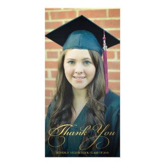 Gold Thank You Script Overlay Graduation Photo Photo Card