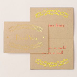 Gold Thank You Scroll Foil Card