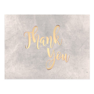 Gold Thank You  Vintage Stone Classic Postcard