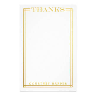 "Gold ""Thanks"" Personal Stationery"