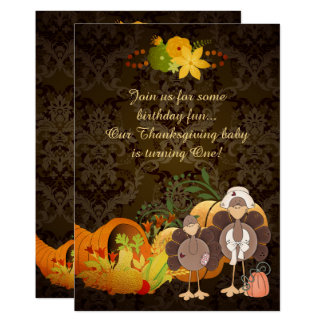 Gold Thanksgiving Girl Turkey 1st Birthday Invite