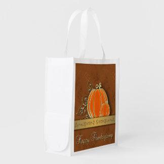Gold Thanksgiving Pumpkin Leaves - Reusable Bag