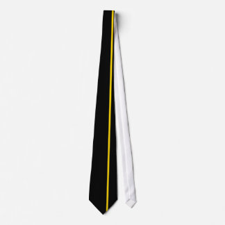 Gold Thin Vertical Line on Black Offset Right Tie