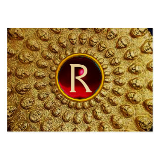 GOLD THRACIAN DISC MONOGRAM  Red Ruby  Gem Large Business Card