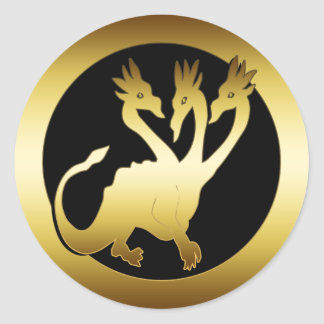 GOLD THREE HEADED DRAGON CLASSIC ROUND STICKER