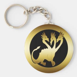 GOLD THREE HEADED DRAGON KEY CHAINS