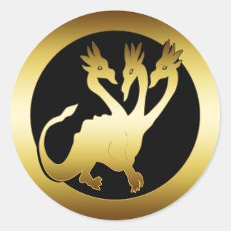 GOLD THREE HEADED DRAGON ROUND STICKER