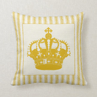 Gold Ticking with Crown Throw Pillow
