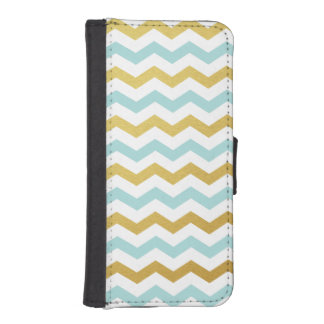 Gold & Tiffany Chevron Pattern iPhone Wallet Case Phone Wallet Cases