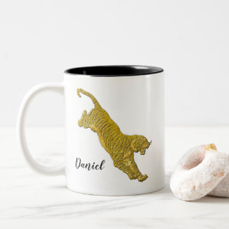 Gold Tiger Your Text Two-Tone Coffee Mug
