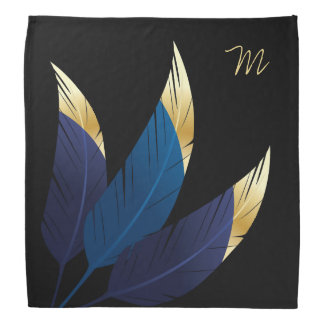 Gold-Tipped Blue Feathers | Bandana