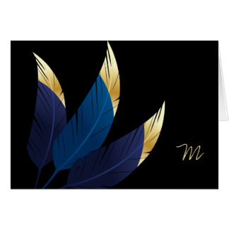Gold-Tipped Blue Feathers | Greeting Card