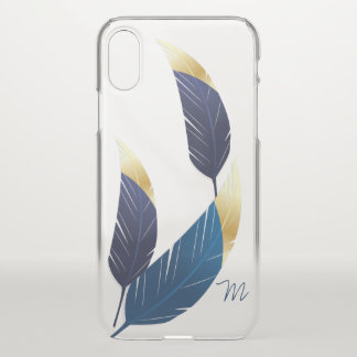 Gold-Tipped Blue Feathers | iPhone X Case