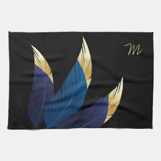 Gold-Tipped Blue Feathers | Kitchen Towel