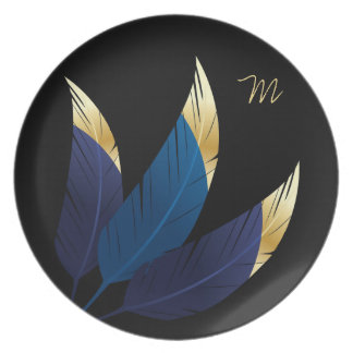 Gold-Tipped Blue Feathers | Melamine Plate