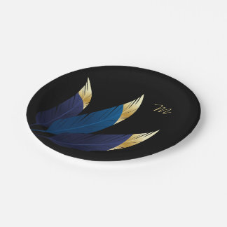 Gold-Tipped Blue Feathers | Paper Plate