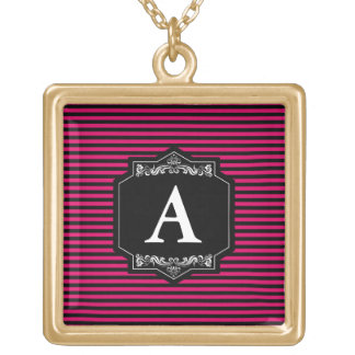 Gold To glue Squared Pink Stripes Monogram Gold Plated Necklace