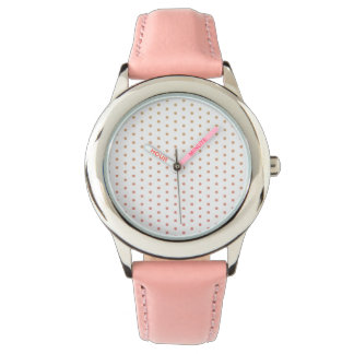 Gold to pink gradient polka dots watches
