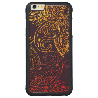 Gold to Red Mehndi on Purple Carved Maple iPhone 6 Plus Bumper Case