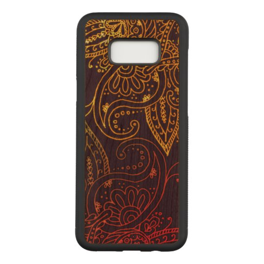 Gold to Red Mehndi on Purple Cherry Hardwood Carved Samsung Galaxy S8+ Case
