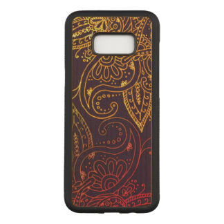 Gold to Red Mehndi on Purple Maple Hardwood Carved Samsung Galaxy S8+ Case