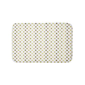 Gold Tone and White Polka Dot Bath Mat