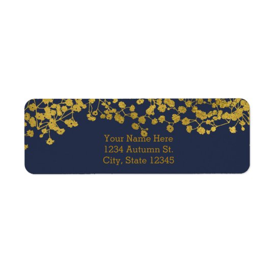 Gold Tone Baby's Breath Blue Elegant Invitation Return Address Label