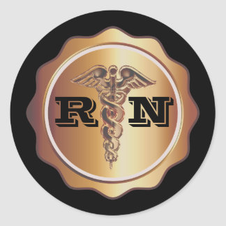 Gold Tone Caduceus RN Nurse | Medical Classic Round Sticker