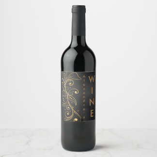 Gold Tone Filigree Wine Label