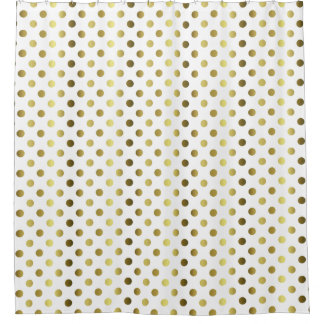 Gold Tone Polka Dot Shower Curtain