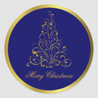 Gold Tone Stylized Christmas Tree Stickers