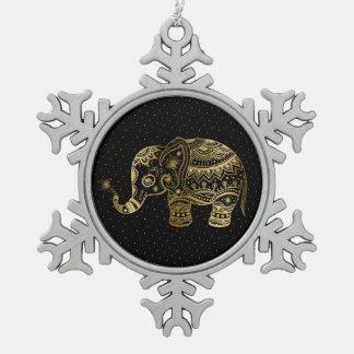 Gold Tones Elephant Illustration Pewter Snowflake Ornament