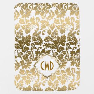 Gold Tones Floral Damasks Over White Background Baby Blanket